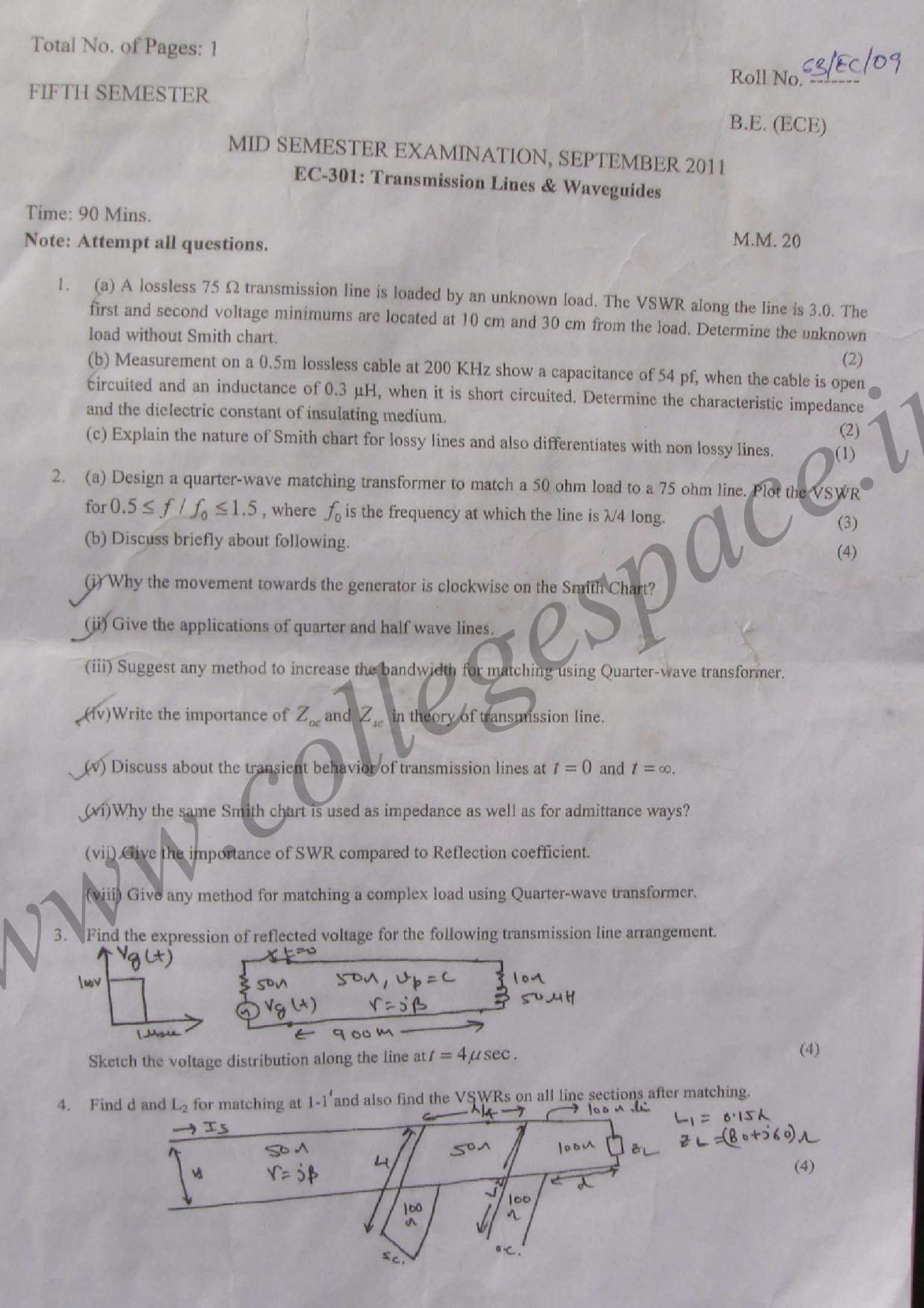 NSIT: Question Papers 2011 – 5 Semester - Mid Sem - EC-301