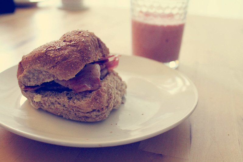 Bacon roll and smoothie