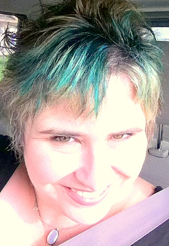 me and teal hair