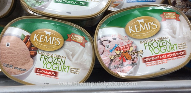 Kemps Limited Edition Cinnamon Frozen Yogurt and Denali Peppermint Bark Moose Tracks Frozen Yogurt