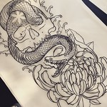 Tattoo idea done with Japanese brushes and ready for a sleeve start or thigh in either studio. Loads of fun to be had with brushes. Thankyou for looking #japanesesleeve #art #blacktattoo #blackwork #skull #snake #chrysanthemum #dotwork