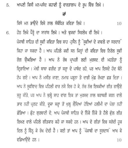 DU SOL B.A. Programme Question Paper - Punjabi Language(A) - PaperII