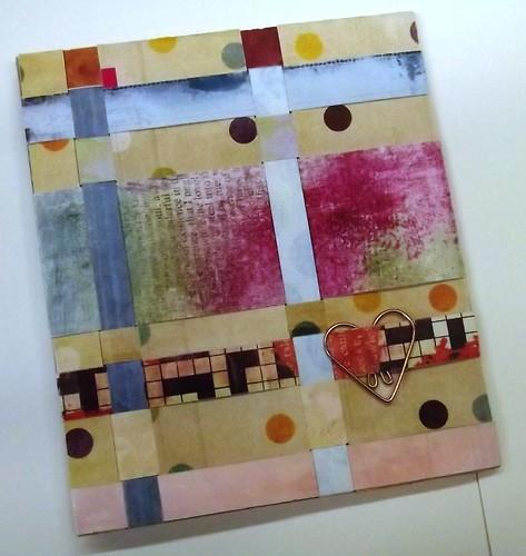 Handmade card: Basket weave paper scraps & heart paperclip