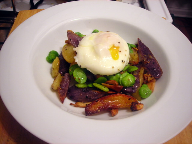 Warm fava bean and chanterelle mushroom salad
