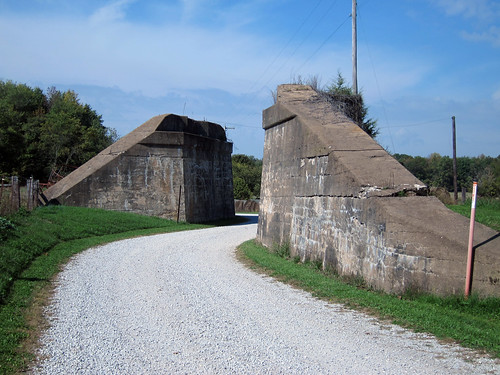 Abandoned abutments to never-built railroad bridge