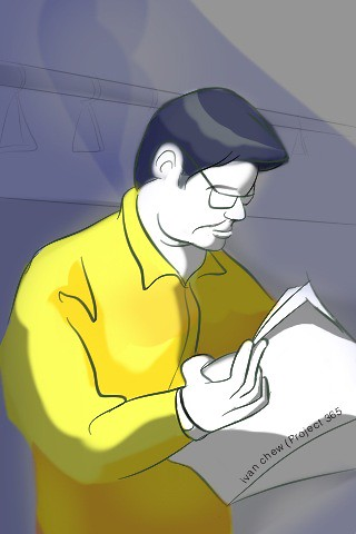 """Newspaper Guy in the Train"" (#98: Project 365 Sketches)"