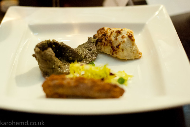 Tandoori duck sausage, Denham fallow venison in a trio of anise, chicken in cream with mace and caradamom