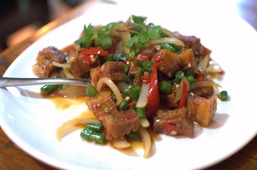 Hot basil chili crispy pork