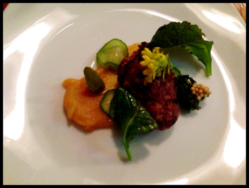 seared monkfish liver, salted pickled cucumber, maggie's mustard & seeds, miso-vin jaume