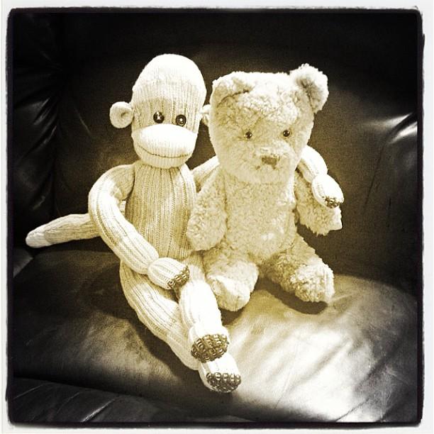Apr 26 - childhood {a couple of my childhood friends} #fmsphotoaday #sockmonkey #teddybear #steiff