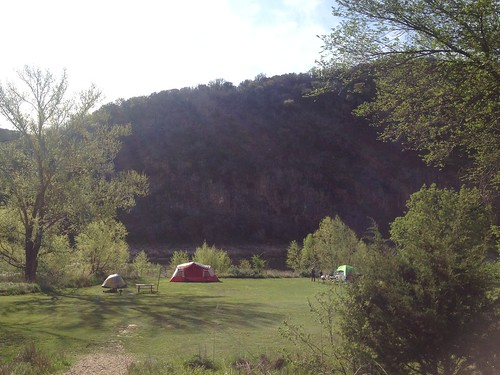 Campground below bluffs next to Colorado River