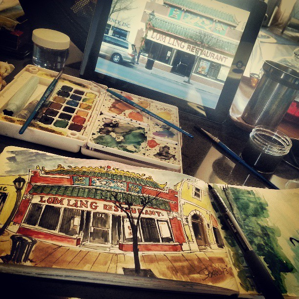 Working from some photos of my downtown. #sketches #watercolors