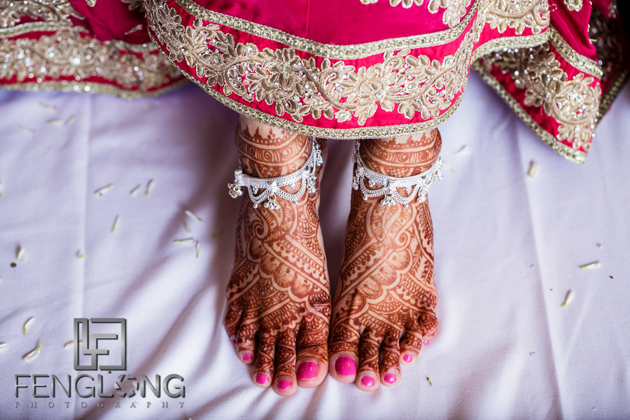 Bride's feet showing wedding mehndi henna design