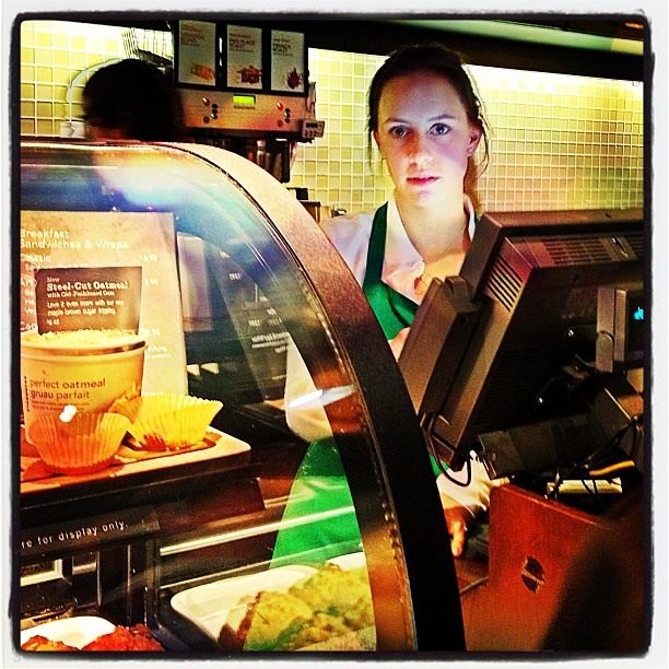 Apr 24 - I saw this person today {Starbucks barrista} #fmsphotoaday #starbucks #coffee
