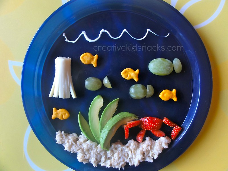 """""""Under the Sea"""" kids snack with avocados, oatmeal, strawberries, and cheese.  So fun! 