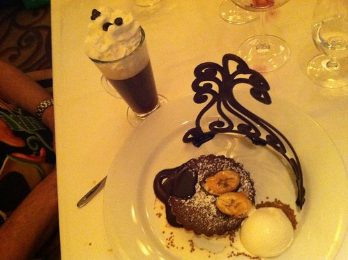 Spanish coffee and banana dessert with chocolate tiara at Citrico