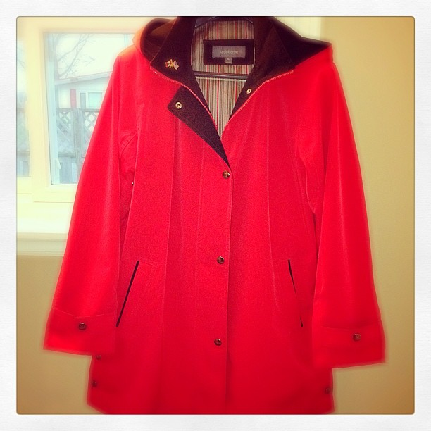 Apr 29 - I wore thus today {because its raining ☔} #fmsphotoaday #red #raincoat