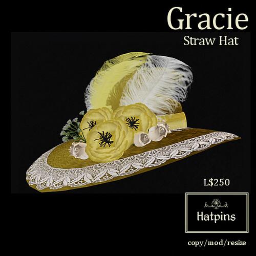 Hatpins - Gracie Straw Hat - Golden