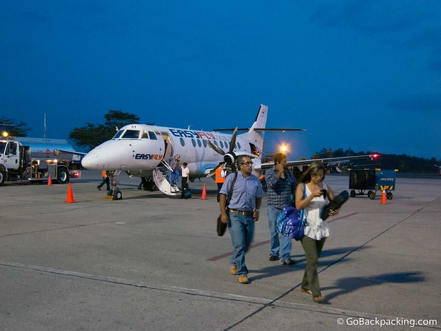 Disembarking at Bucaramanga's airport