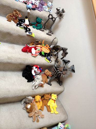 Beanie babies and dog sculptures
