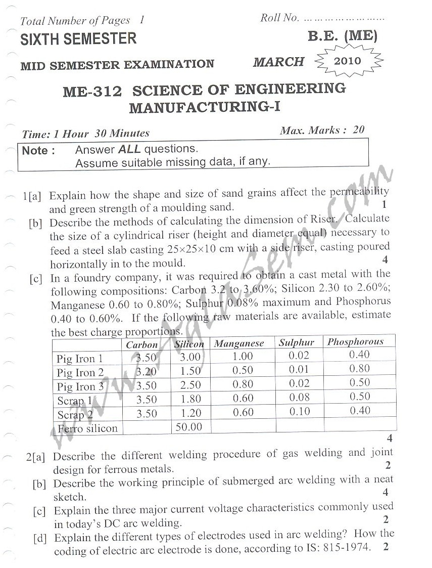 DTU Question Papers 2010 – 6 Semester - Mid Sem - ME-312