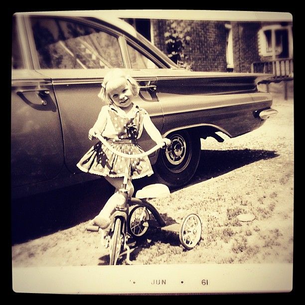 Apr 29 - when I was a child {my first tricycle} #photoaday #blackandwhite #car
