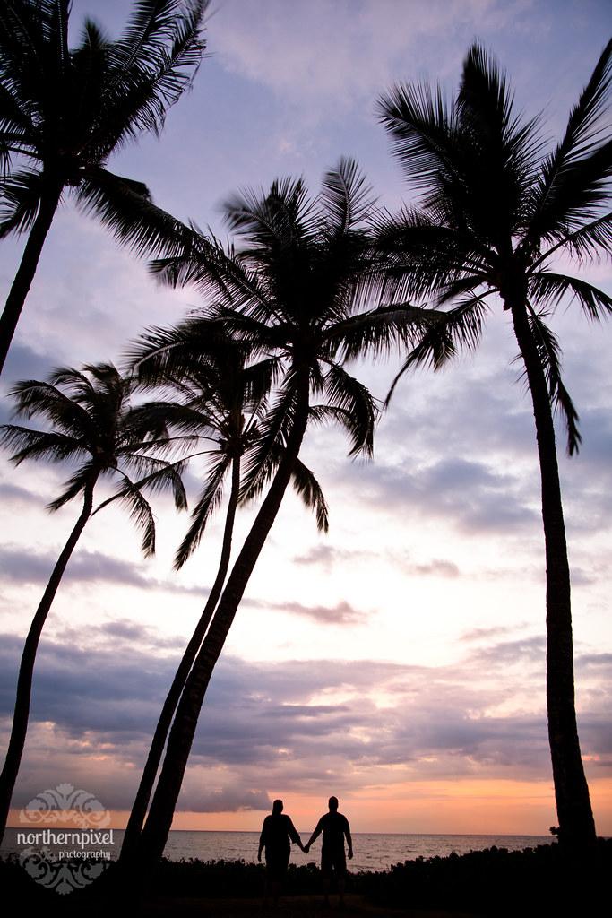 Mokapu Beach Sunset Silhouette Maui Hawaii Wedding Northern Pixel Photography