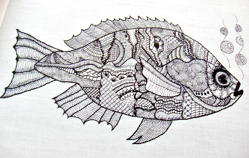 Blackwork fish by Mary Corbet