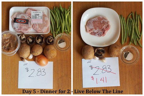Day 5 Dinner - Plan vs Actual - Live Below The Line