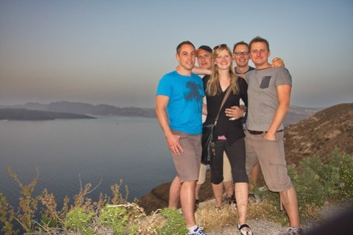 The Crew during Sunset at Santorin