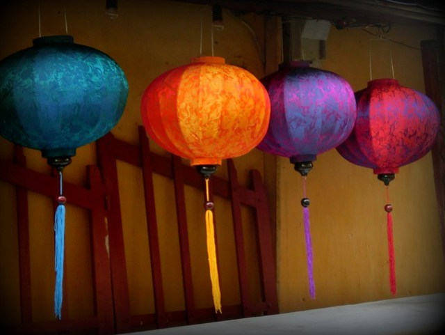 Colourful silk lanterns in the streets of Hoi An, Vietnam