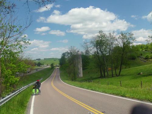 Hannah pushing bike on VA route 11