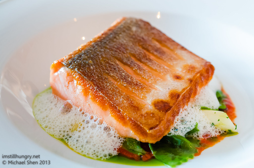 Aria Seared fillet of king salmon w/white asparagus, herb farfalle & pine nuts