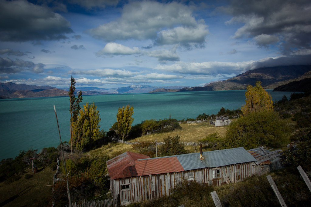 An abandoned ranch along the central arm of the Lago O'Higgins. Aysen. Patagonia. Chile.