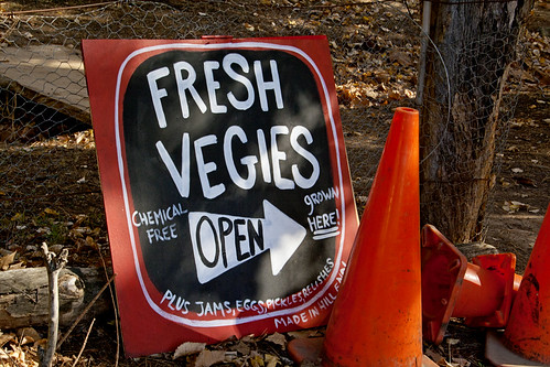 Photo of sign saying Fresh Vegies, Chemical Free, Grown here' with an arrow pointing to the farm