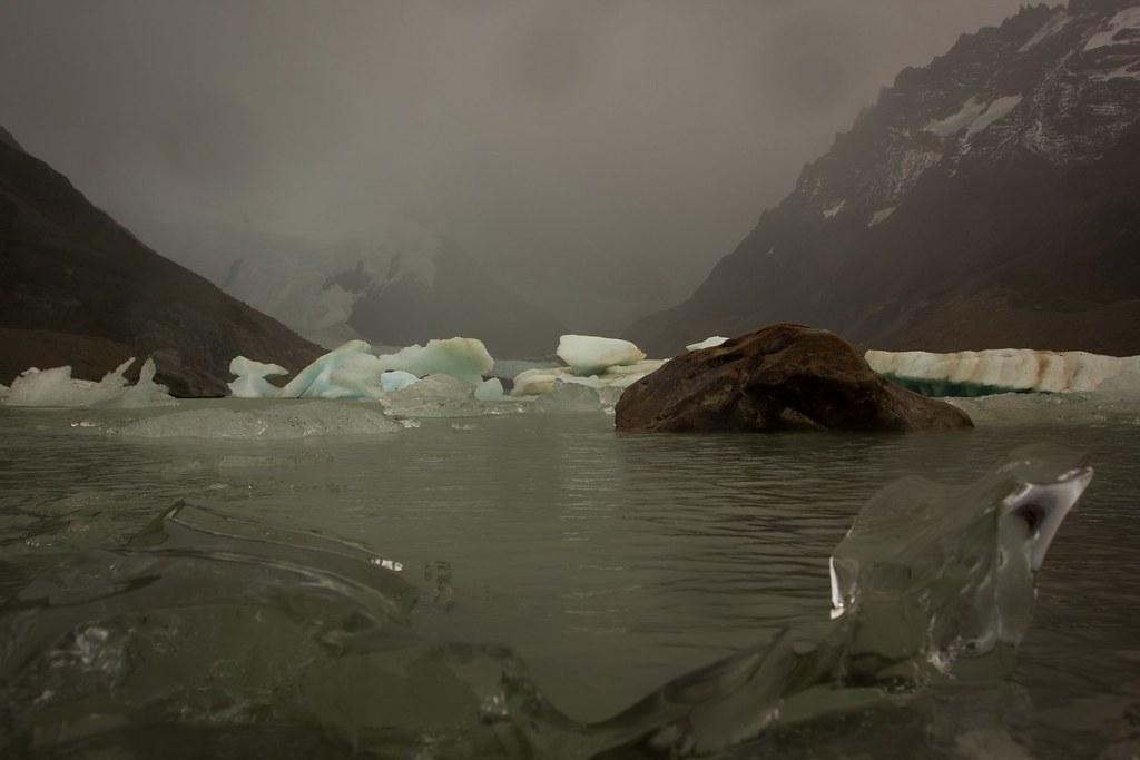 Dripping rain over the Laguna Torre. Los Glaciares. Patagonia. Argentina.