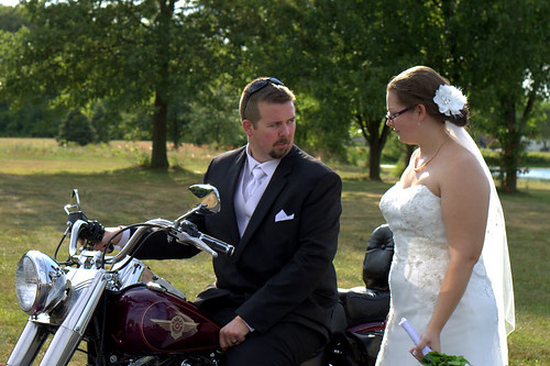 Bride and Groom w Motorcycle