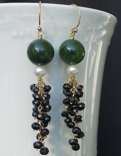 Vintage Jade Drop Earrings and Pearls with Black Spinel