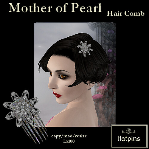 Hatpins - Mother of Pearl Hair Comb - White Beads 1