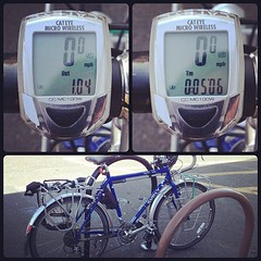 My new bike commute distance and time. It triples my old commute of .33miles. Now only if I didn't forget my lock and water bottle.