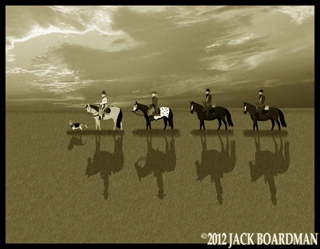 Boomer, Hickok & the Derbys riding south on the prairie ©2012 Jack Boardman