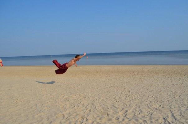 Superman on a Latvian Beach