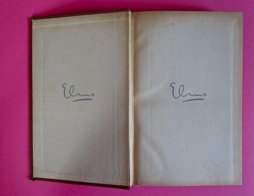 Gore Vidal, La città perversa, Elmo editore 1949. Verso della copertina e carta di guardia anteriore (part.), 1