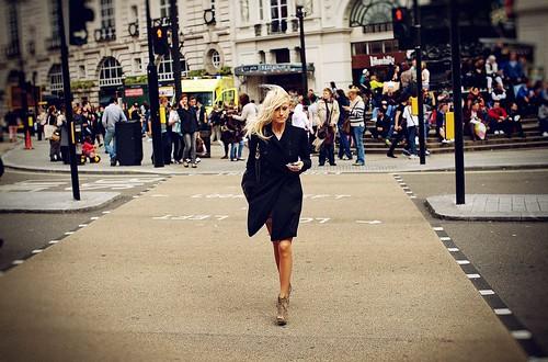 Wind blowing blonde hair
