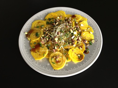 Yellow Beet Carpaccio with sweet date-balsamic vinegar (1st Kookgrrls Cookalong: Italy)