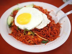 Indian fried bee hoon with egg. Adam Road Food Centre