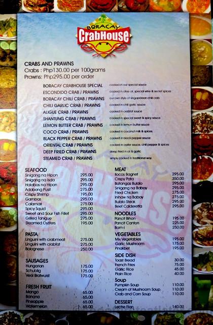 Boracay Crab House menu