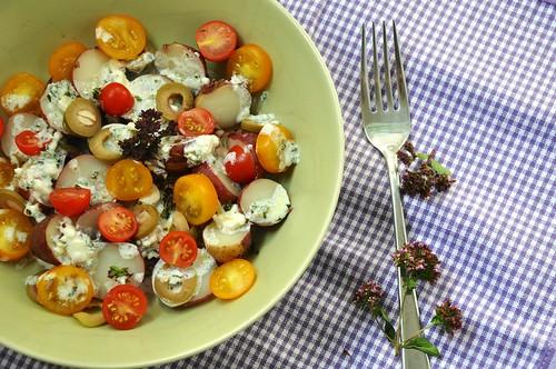 Kartoffeln mit Oregano Blueten