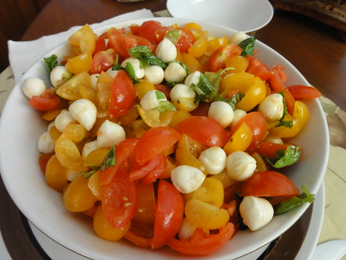 Cherry tomato salad with basil and mozzarella