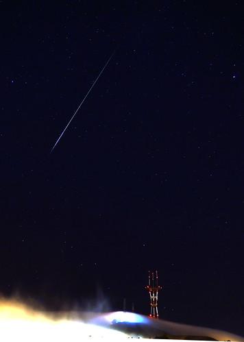 Perseid meteor over Sutro Tower, San Francisco Aug 13, 2012